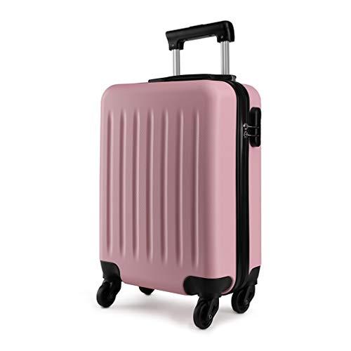 Kono Trolley Bagaglio a Mano Rigidi e Leggero in ABS Valigia con 4 Ruote 48cm, 27L (Rosa)