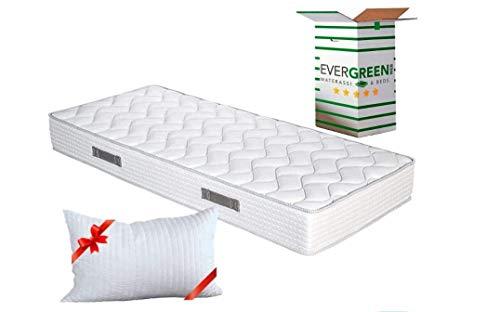 EVERGREENWEB - Materasso Singolo 90x200 in Poliuretano Ergonomico Alto 20 cm con Cuscino Memory Foam,...
