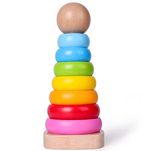 Rolimate Giocattolo Impilatore Anelli in Legno Rainbow Tower Giocattolo Educativo Montessori di Legno,...