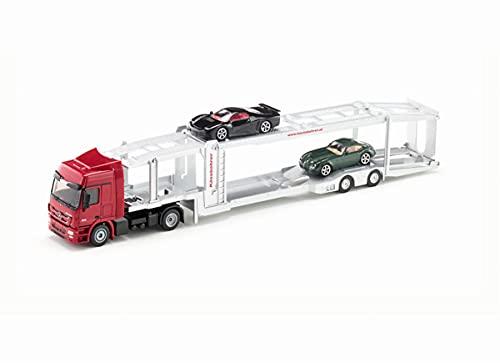 Siku 3934 Camion bisarca, Con 2 auto giocattolo, 1:50, Metallo/Plastica, Rosso/Argento, Semirimorchio...