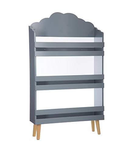 Libreria con 3 scaffali in legno - Motivo a nuvola - Colore: GRIGIO