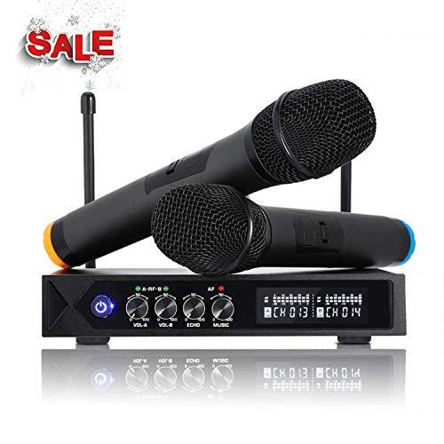 ROXTAK S9-UHF - Microfono senza fili Bluetooth 4.1, professionale, portatile, con 2 microfoni karaoke per...