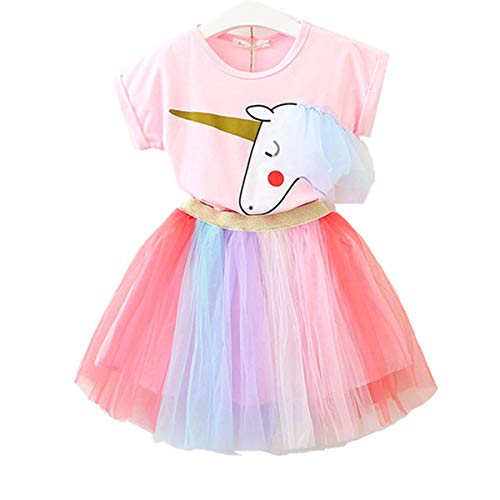Lee Little Angel Bambina Unicorno Casual Pizzo soffice Abito Top T-Shirt Arcobaleno Gonna (1-9 Anni)...