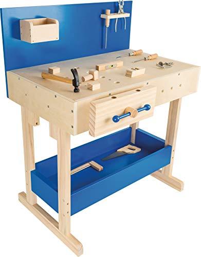 10839 Banco di lavoro per bambini con accessori small foot in legno naturale e blu, con grande piano di...