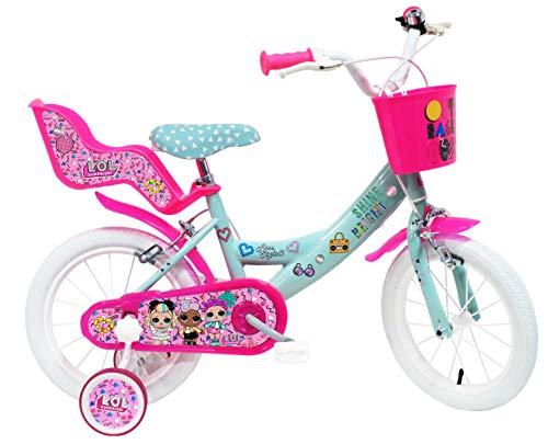 Bici Bimba 14' LOL 2 Freni Unisex_Bambini, Rosa-Celeste