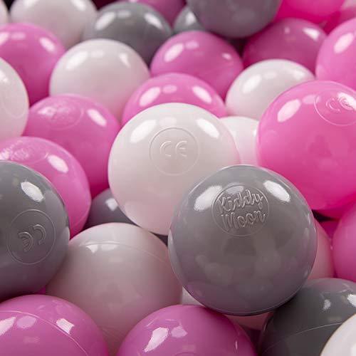 KiddyMoon 100 ∅ 7CM Palline Morbide Colorate per Piscina Bambini Fatto in EU, Grigio/Bianco/Rosa