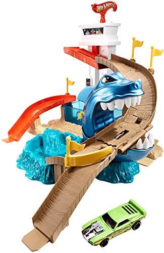 Hot Wheels BGK04 Lo squalo sta attaccando pista con macchine, 4 anni +