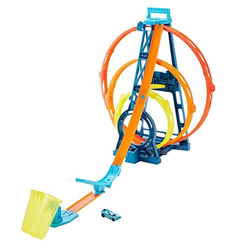 Hot Wheels- Track Builder, Playset Pista Triple Loop Giocattolo per Bambini 4+ Anni, GLC96