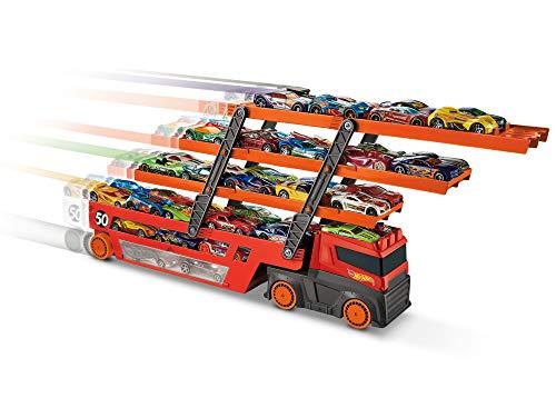 Hot Wheels Mega Trasportatore con Livelli Espandibili, Porta fino a 50 Macchinine, Gioco per Bambini di 3...