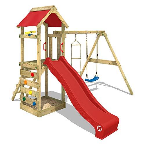 WICKEY Parco giochi in legno FreeFlyer Giochi da giardino con altalena e scivolo rosso, Torre...