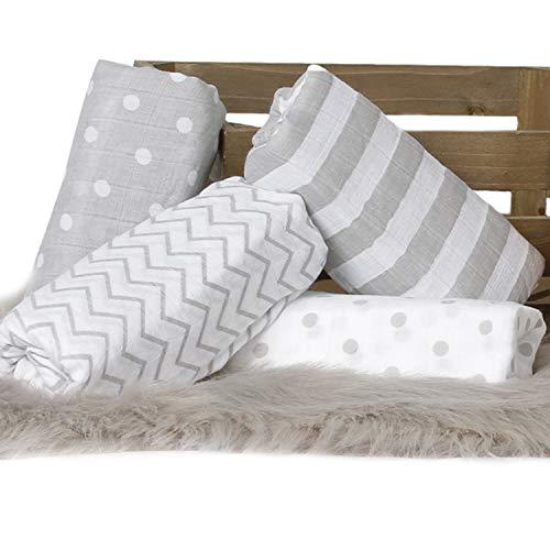 CuddleBug Mussole Neonato Pacco da 4 - Copertina neonato leggera disponibile in 4 design - Mussola...