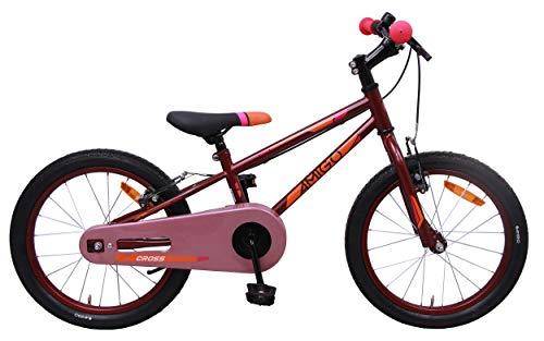 AMIGO - Cross - Bicicletta Bambini - 18'' (per 5-8 Anni) - Rosso/Rosa