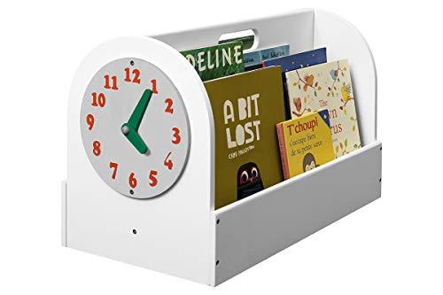 Tidy Books - Scatola portalibri | Libreria per bambini | Orologio giocattolo | Contenitore porta giochi |...