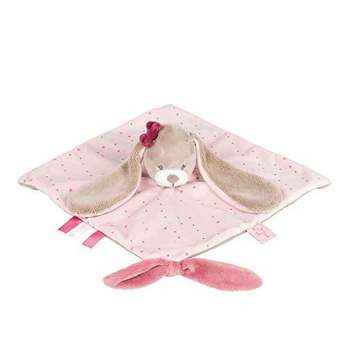 Nattou, Jade, & Lili Soft Toys Pupazzetto fazzoletto Nina Il Coniglietto, Compagno dalla nascita, 27 x 27...