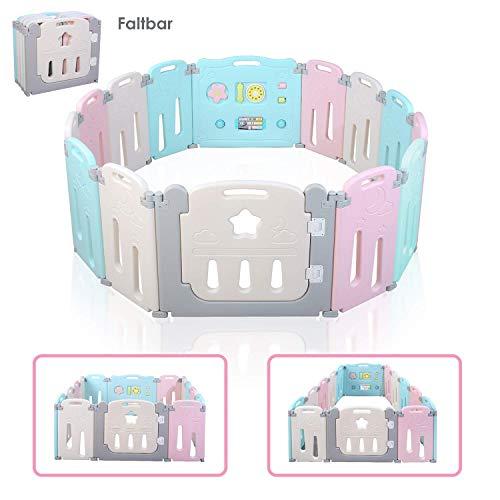 BAMNY Box Recinto per Bambini Barriera di Sicurezza Pieghevole con Porta Plastica Estensibile, 14...