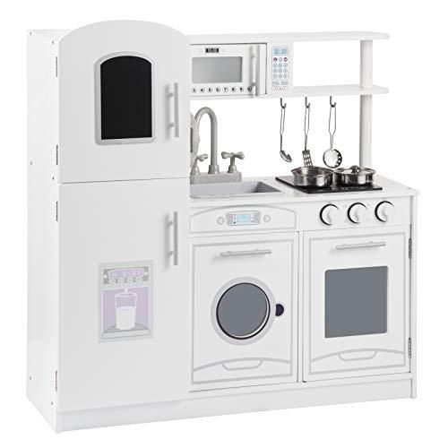WOLTU Mini Cucina Giocattolo Moderna in Legno, con Kit di 5 Pezzi, Regalo per Bambini di 3 Anni, Bianca...