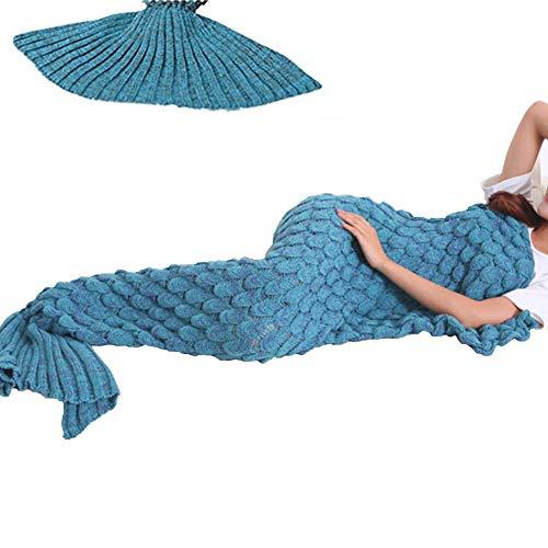 YOWAO Coperta a Coda di Sirena, Coperta di Pesce con Motivo Morbido Tutte Le Stagioni (Rosa Viola,...