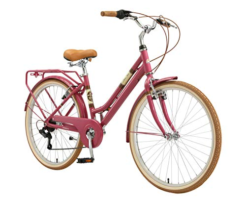 BIKESTAR Bici da Città Citybike in Alluminio 26' | 7 velocità Shimano Bici Retro Vintage Donna | Viola
