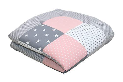 Tappeto per neonato ULLENBOOM ® rosa, grigio (100x100 cm, ideale come copertina per la carrozzina,...