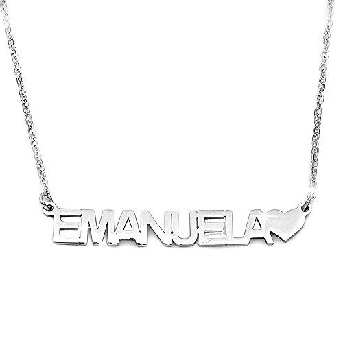 Beloved Collana donna girocollo con nome in acciaio - lunghezza regolabile - anallergica - ciondolo...