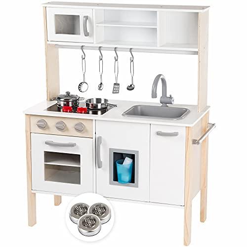 Kinderplay Cucina Giocattolo per Bambini - Cucina Legno per Bambini Altezza al Piano del Tavolo 49 cm,...