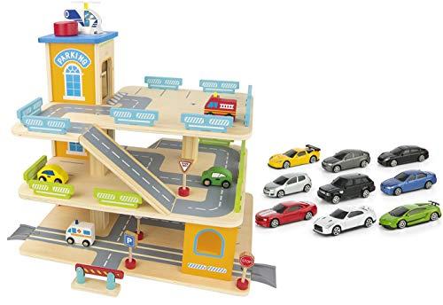 Leomark Garage in Legno, parcheggio a 3 Livelli con Ascensore e Auto + 9 Metallo Super Cars Macchine Mini...