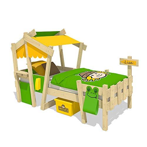 WICKEY Letto per bambini CrAzY Candy Letto da gioco 90x200cm con rete a doghe, giallo-verde-mela