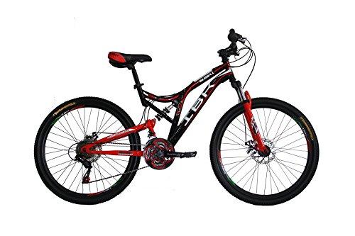 IBK Bici Bicicletta MTB 24' BIAMMORTIZZATA 21 Vel. Shimano Mountain Bike REVO Freni A Disco (Rosso)