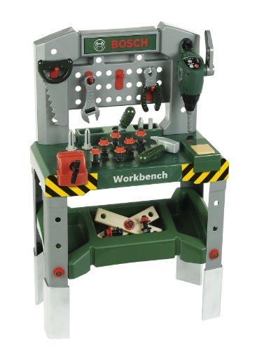 Theo Klein 8637 Banco da lavoro Bosch da 48 pezzi, Piedi regolabili in altezza, Piano di lavoro con...
