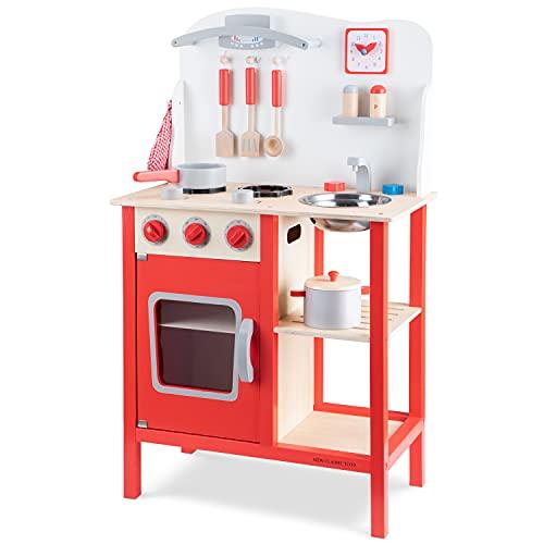 New Classic Toys- New Toys-11055-Cucina Classic Rosso Giocattolo in Legno accessoriata per Bambini...