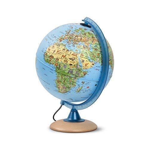 Mappamondo per bambini, Globo luminoso per bambini, diametro 25 cm, con tante illustrazioni interessanti,...