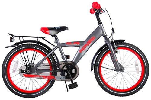 Bici Bicicletta Bambino Ragazzo Thombike 18 Pollici con Portapacchi Grigio Rosso 95% assemblata
