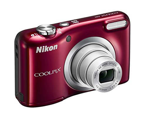 Nikon Coolpix A10 Fotocamera Digitale Compatta, 16 Megapixel, Zoom 5X, LCD 2,8', HD, Rosso [Nital card: 4...