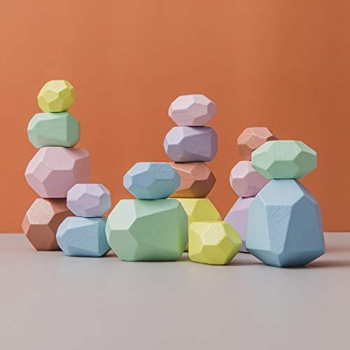 Promise Babe Giocattoli impilabili in legno pietre di bilanciamento Waldorf natura blocchi di costruzione...