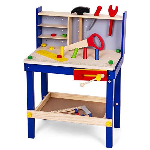 Leo & Emma - Banco da lavoro per bambini con attrezzi in legno, laccato blu, 50 pezzi, banco da lavoro...