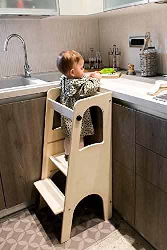Pekiedo Torretta Montessori per Bambini in Legno | Learning Tower | Personalizzabile col Proprio Nome con...