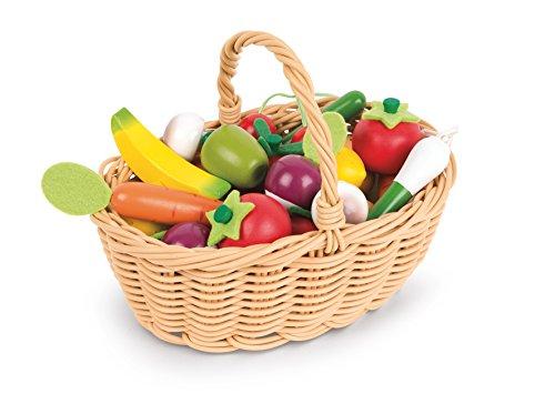 Janod - Cestino 24 frutti e verdure misti (legno), gioco di imitazione sulla cucina, per bambini dai 3...