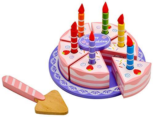 Idena 4100109 - Torta di Compleanno in Legno con Accessori Inclusi, Circa 15 x 15 x 8,5 cm, 15 pz.