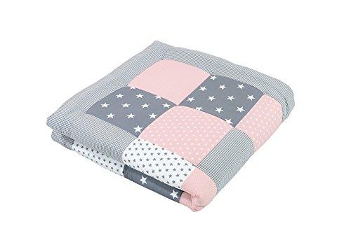 Tappeto per neonato ULLENBOOM  rosa, grigio (100x100 cm, ideale come copertina per la carrozzina, adatta...