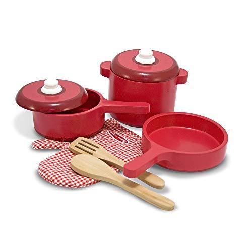 Melissa & Doug- Set di Accessori per Cucina in Legno, Colore Rosso, 2610