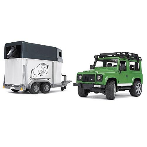 Bruder 02592 - Land Rover Defender - Veicolo con rimorchio cavalli, incluso 1 cavallo, scala 1:16, verde/...