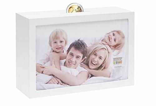 Deknudt Frames S66RR1 - Cornice portafoto in Legno, con salvadanaio, 10 x 15 cm, Colore Bianco, cristal