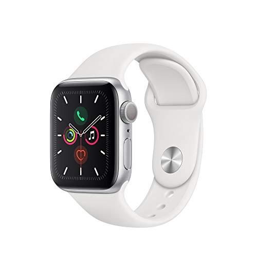 Apple Watch Series 5 (GPS, 40mm) Cassa in Alluminio, Argento e Cinturino Sport - Bianco