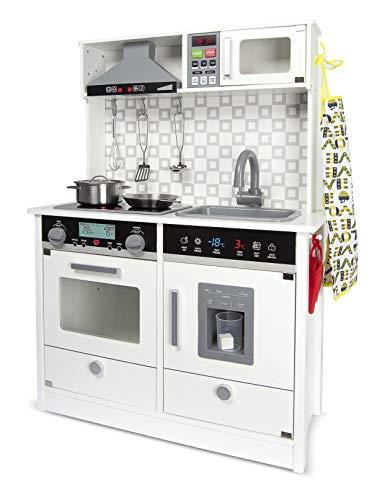 Leomark cucina in legno bianca, elettronica giocattolo per bambini, educazione tavola divertimento,...