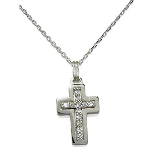 Never Say Never Croce in oro bianco con zirconi e catena forzatina tutto oro bianco 18 carati. 45 cm...