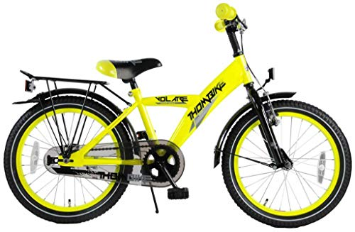 Bici Bicicletta Bambino Ragazzo Thombike 18 Pollici con Portapacchi Giallo Fosforescente 95% assemblata