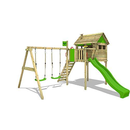 FATMOOSE Parco giochi in legno FunFactory Giochi da giardino con altalena e scivolo mela verde, Casa su...