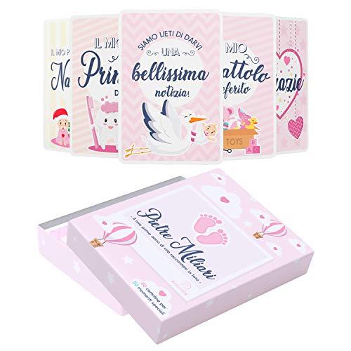 Scatola Dei Ricordi Neonato - Regalo per La Nascita - 50 Milestone Baby Cards Italiano - Pietre Miliari...