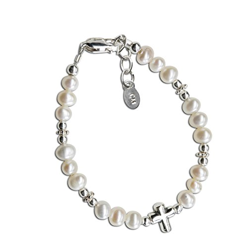 Cherished Moments Bracciale per ragazza, in argento Sterling, con croce, per battesimo o prima comunione...