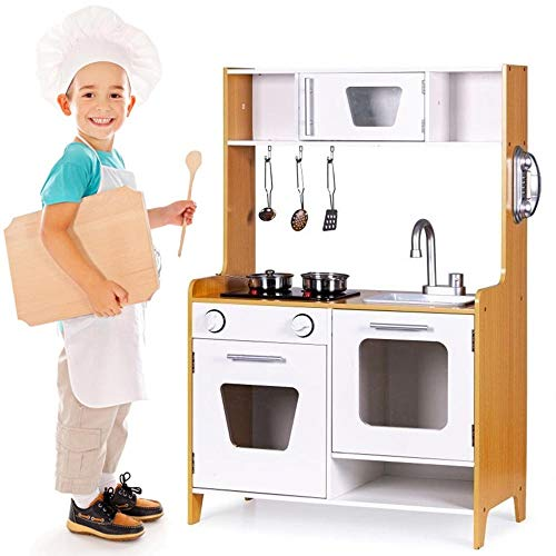 BAKAJI Cucina in Legno Giocattolo per Bambini con Lavello in Plastica 2 Fornelli Doppio Forno Apribile e...
